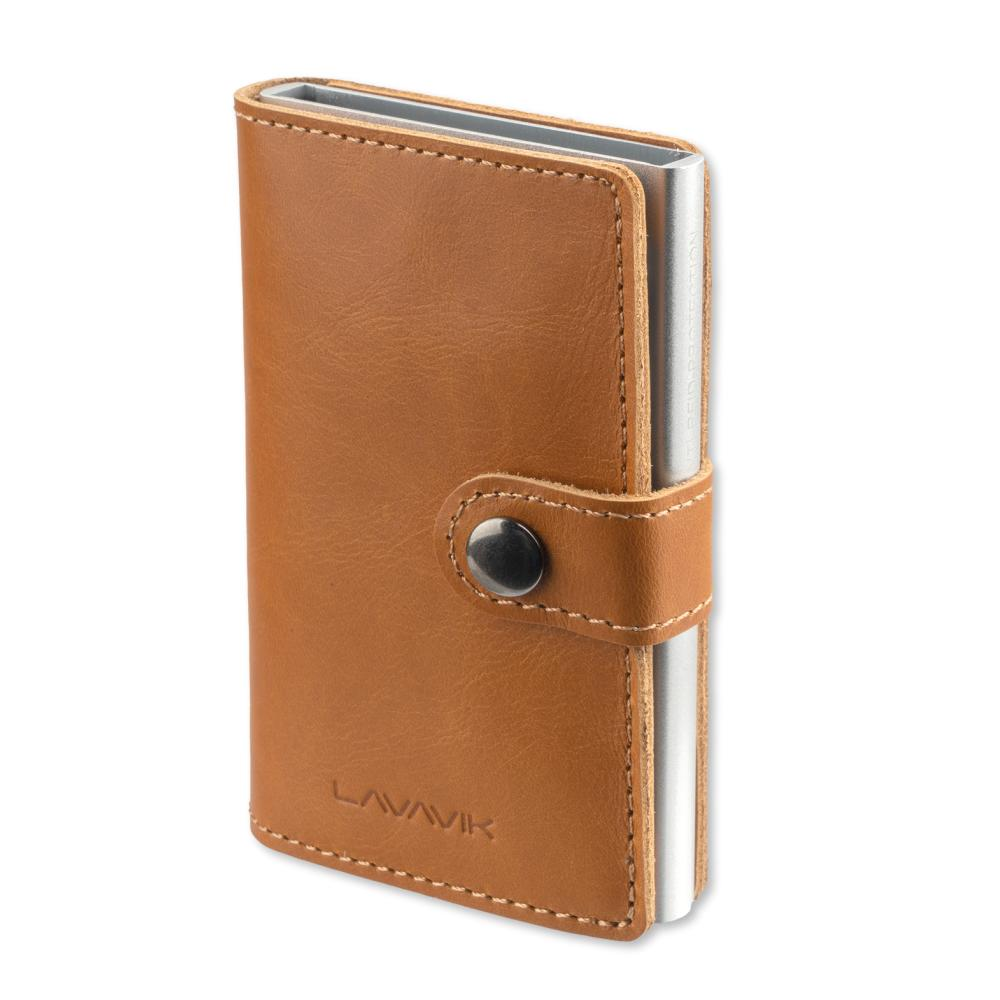 4smarts LAVAVIK Anti-RFID Wallet with Buckle - кожен портфейл с RFID защита (кафяв)