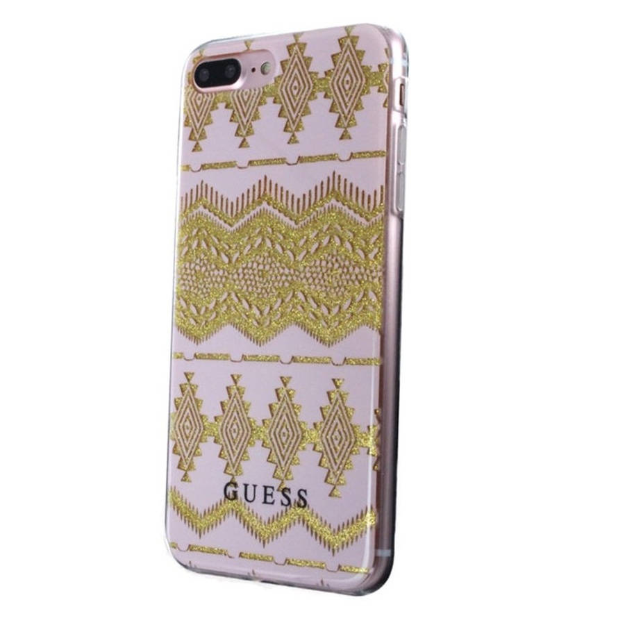 Guess Aztec Soft TPU Case - дизайнерски термополиуретанов кейс за iPhone 8 Plus, iPhone 7 Plus, iPhone 6S Plus, iPhone 6 Plus (прозрачен-златист)