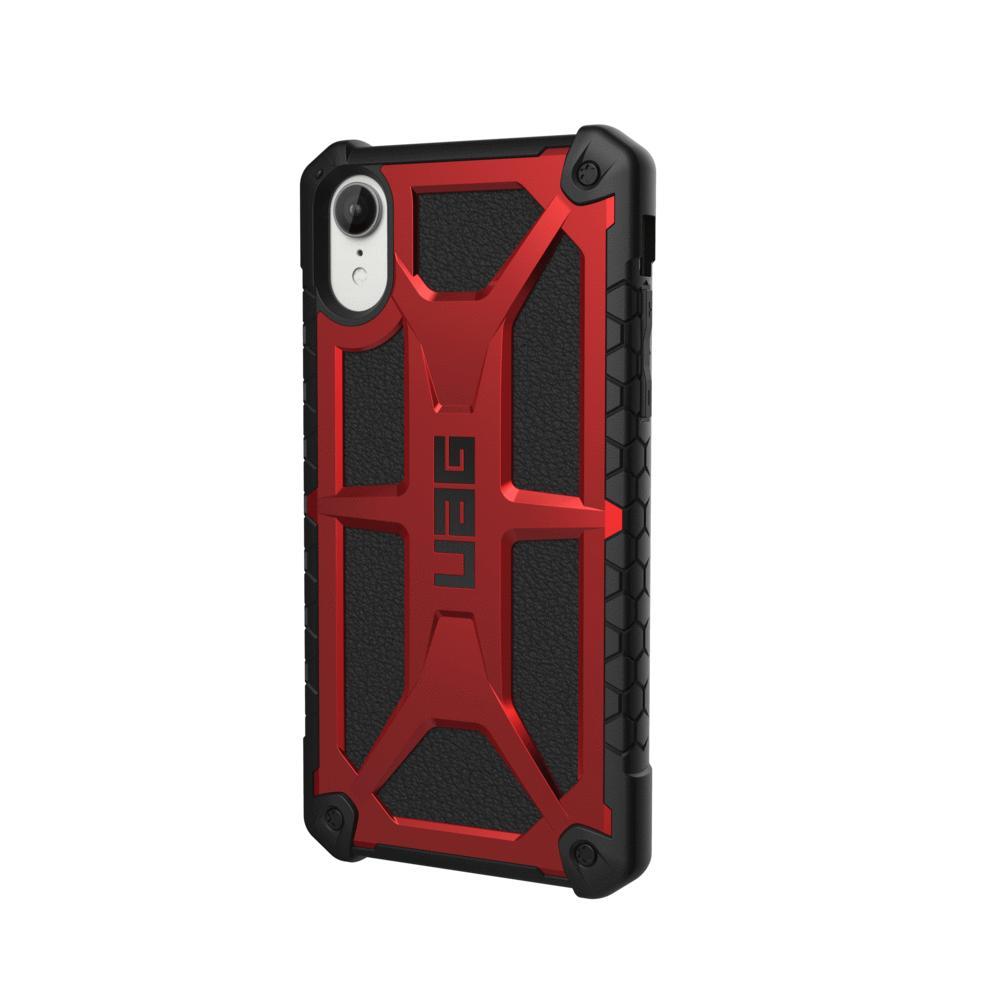 Urban Armor Gear Monarch Case - удароустойчив хибриден кейс за iPhone XR (червен-черен)