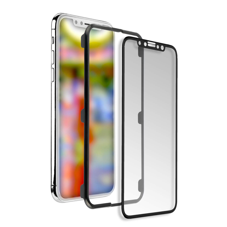 4smarts Second Glass Curved Easy-Assist - калено стъклено покритие с рамка за поставяне iPhone XS Max (прозрачен-черен)