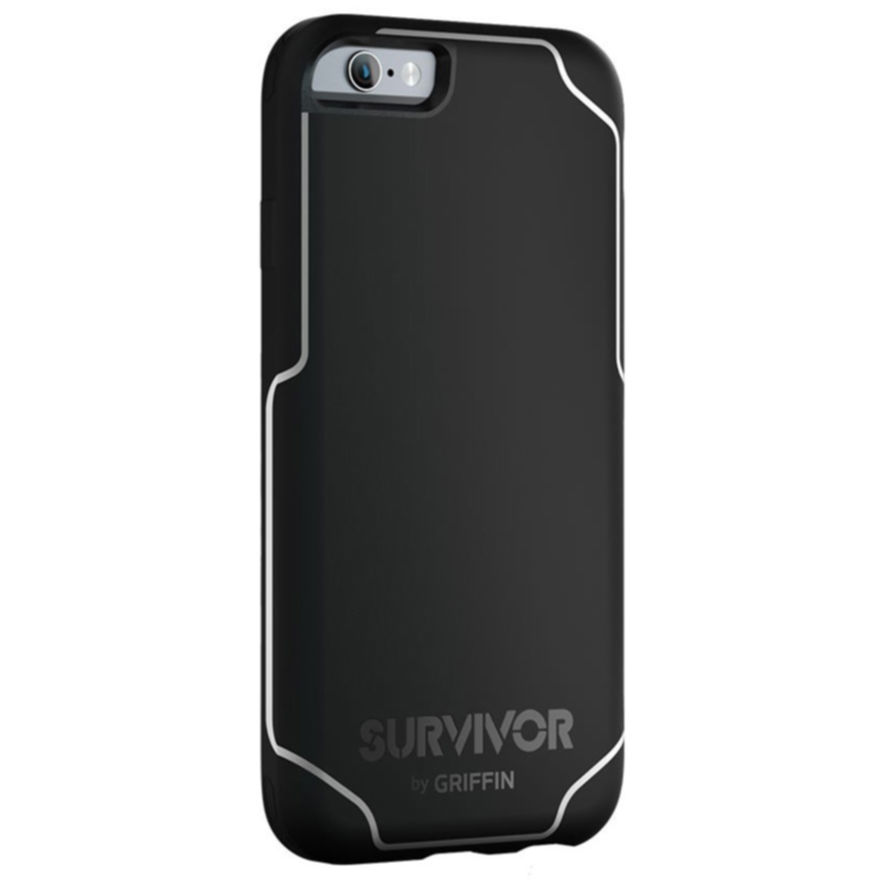 detailed pictures 2aec2 e3086 Griffin Survivor Journey Case - хибриден удароустойчив кейс за iPhone 6S  Plus, iPhone 6 Plus (черен с бял ...