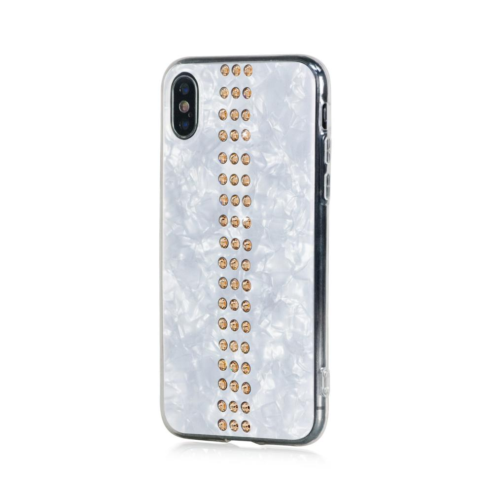 Bling My Thing Stripe TPU Gold Swarovski - силиконов (TPU) калъф с кристали Сваровски за iPhone XS, iPhone X (бял)