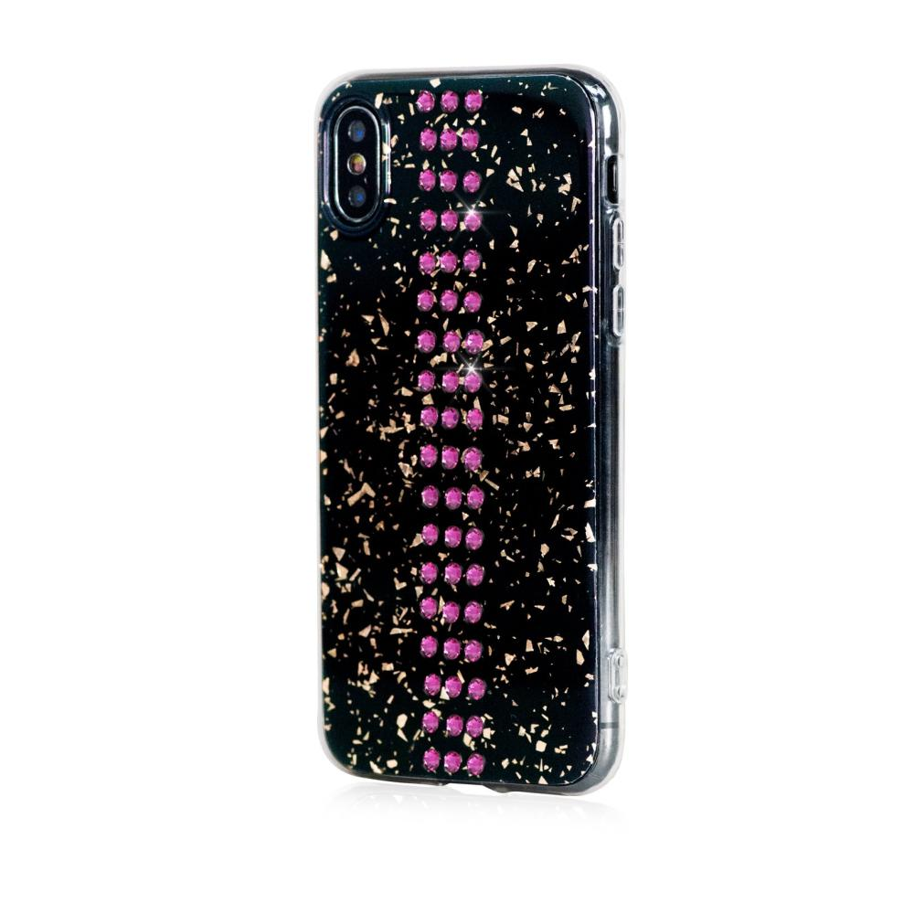 Bling My Thing Stripe TPU Fuchsia Swarovski - силиконов (TPU) калъф с кристали Сваровски за iPhone XS, iPhone X (черен)
