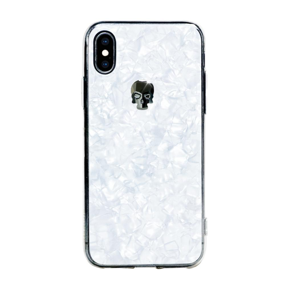 Bling My Thing TPU Treasure Jet Hematite Skull Swarovski - силиконов (TPU) калъф с череп от кристали Сваровски за iPhone XS, iPhone X (бял)