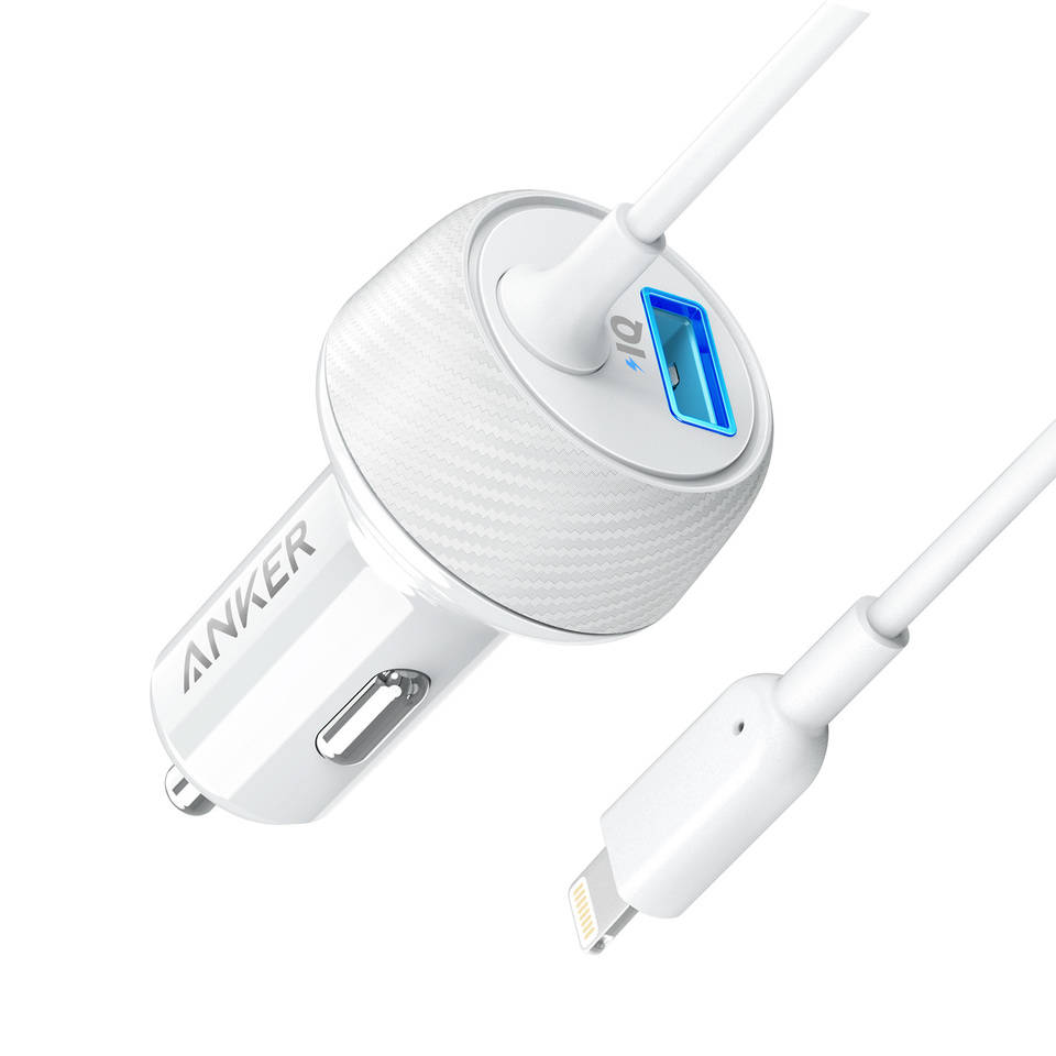 Anker PowerDrive 2 Elite with Lightning Connector - зарядно за кола с USB изход и вграден Lightning кабел (бял)