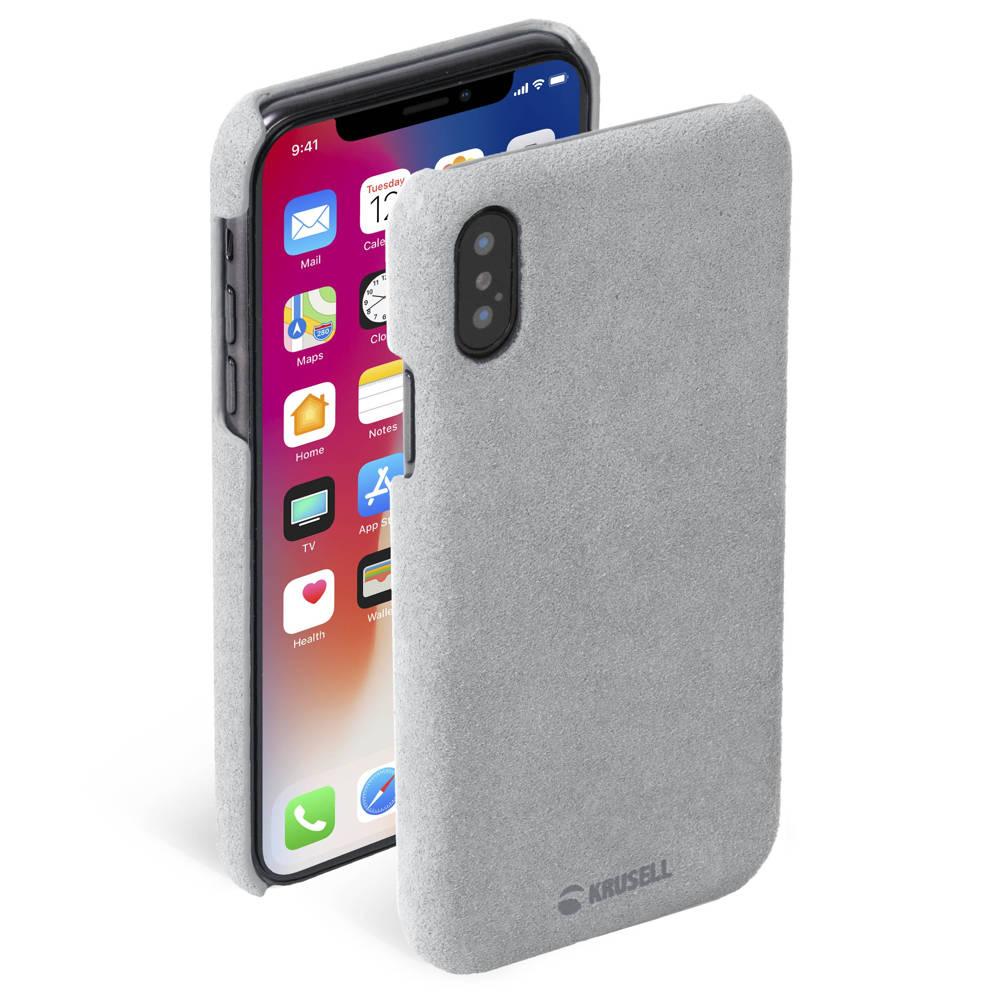 Krusell Broby Cover Case - велурен кейс за iPhone XS, iPhone X (сив)