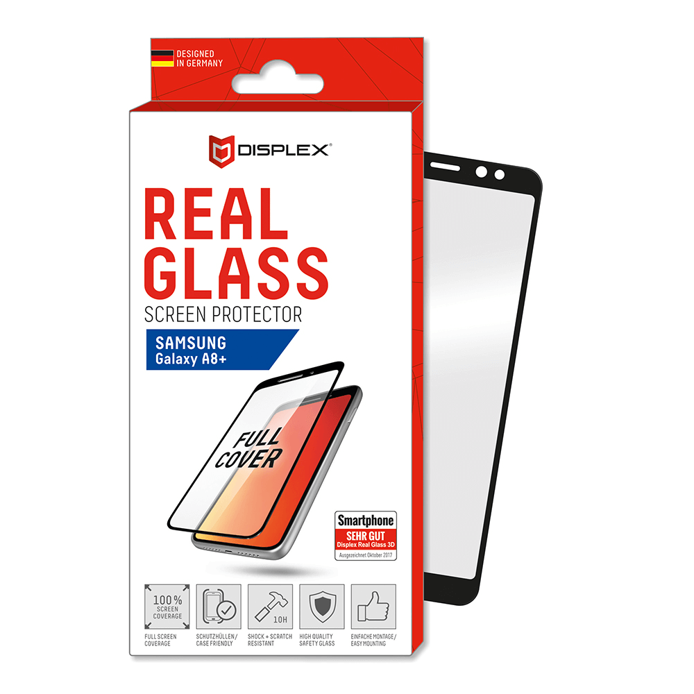 Displex Real Glass 10H Protector 3D Full Cover for Samsung Galaxy A8 Plus (2018) (black)