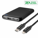 4smarts Power Bank VoltHub 10000 mAh PD and Qualcomm Quick Charge 3.0 with USB and USB-C and Lightning to USB-C cable (black)