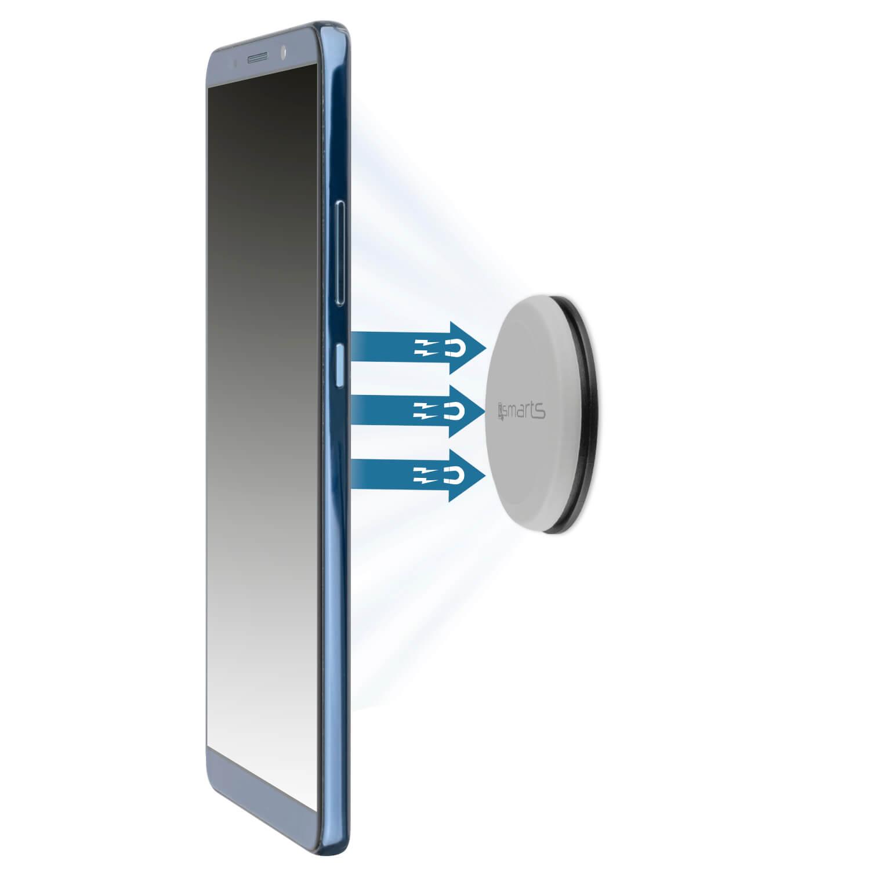 4smarts UltiMAG Allround Magnetic Holder - магнитна поставка за гладки повърхности за смартфони (сив)