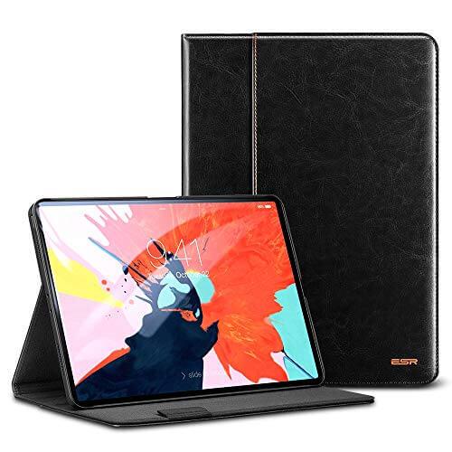 ESR Premium Intelligent Leather Case - кожен калъф и поставка за iPad Pro 11 (2018) (черен)