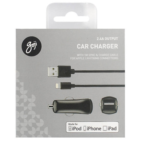 Goji Car Charger 2.4A with Lightning Cable - зарядно за кола с USB 2.4A и Lightning кабел за всички продукти на Apple с Lightning