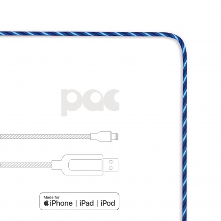 PAC Intelligent Power Cable - светещ кабел за iPhone, iPad и устройства с Lightning порт (син)