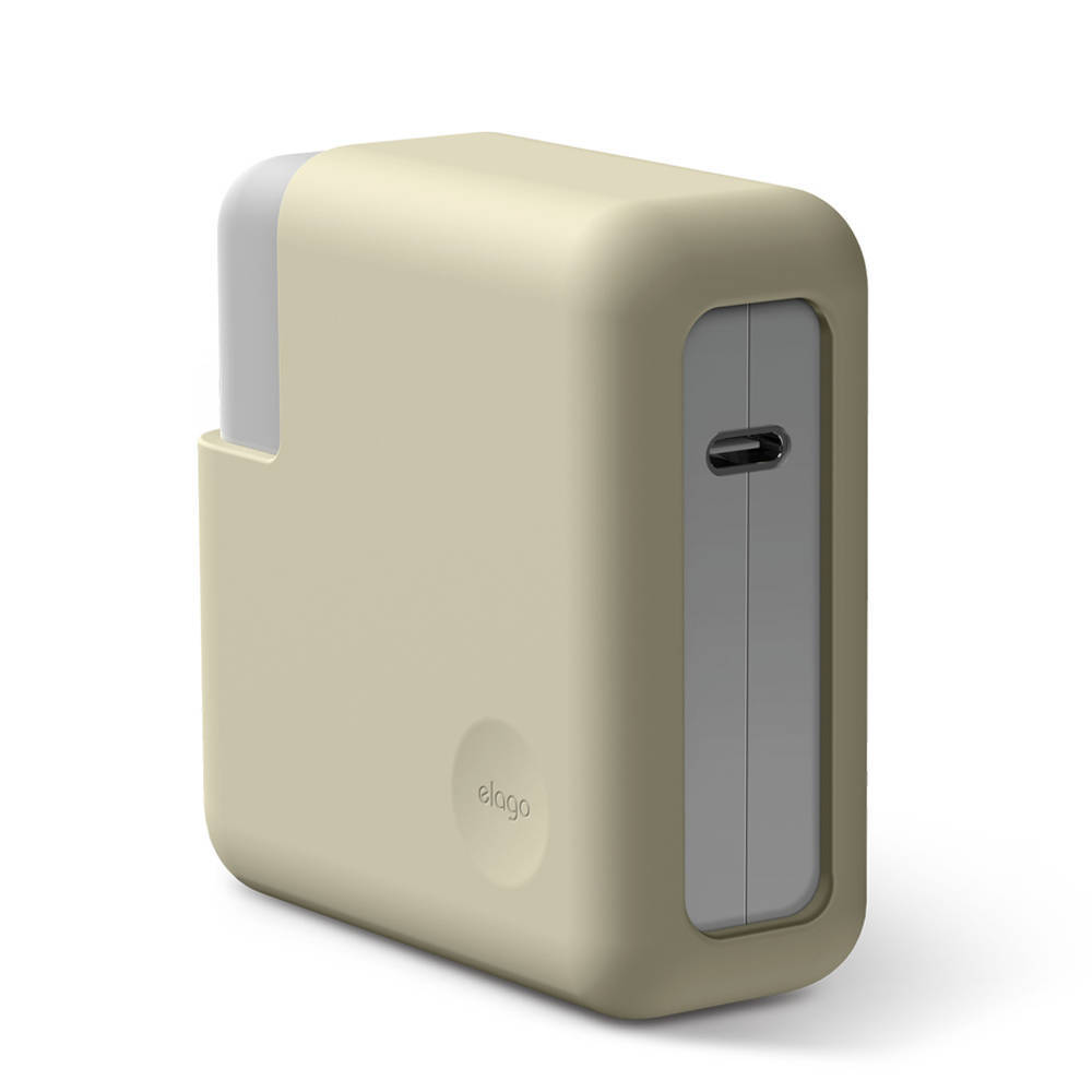 Elago MacBook Charger Cover - силиконов калъф за MagSafe 2 60W и Apple USB-C 61W захранвания (бял)