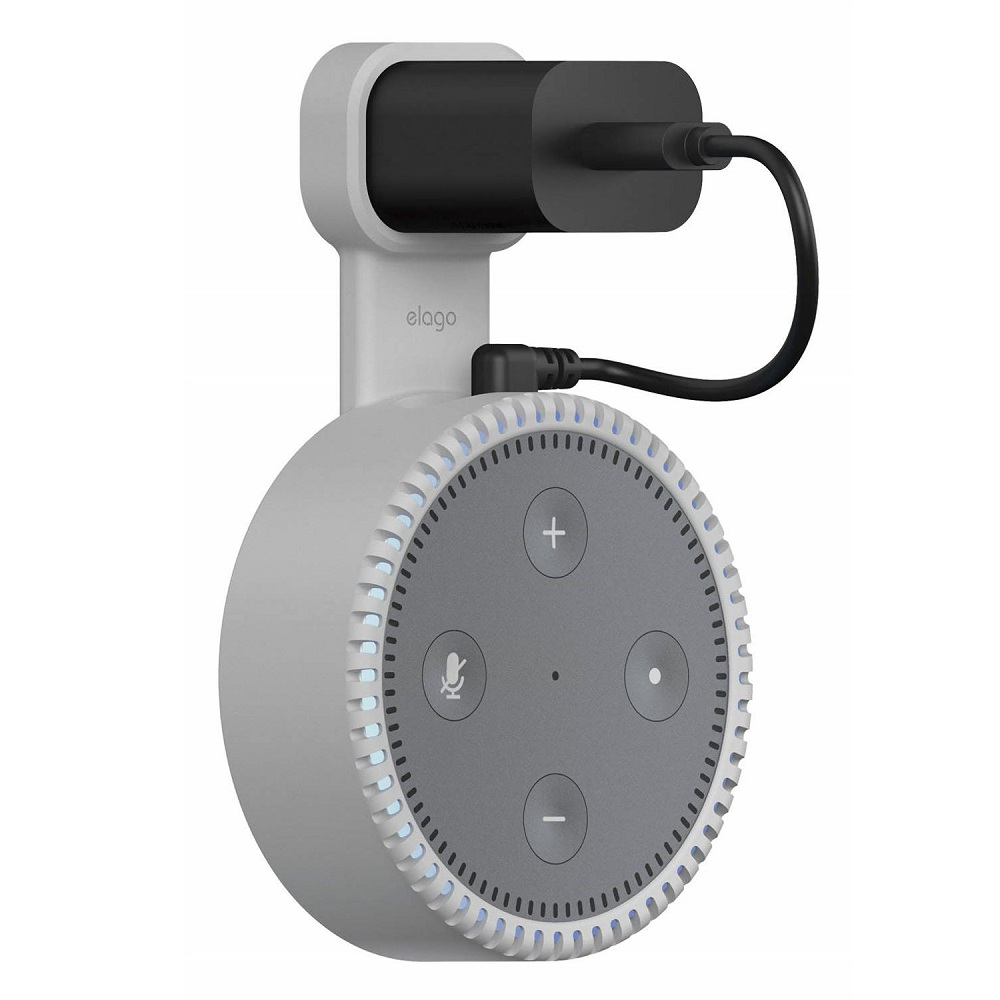 Elago Echo Dot 2nd Generation Outlet Wall Mount - силиконова поставка за Echo Dot 2 (бяла)