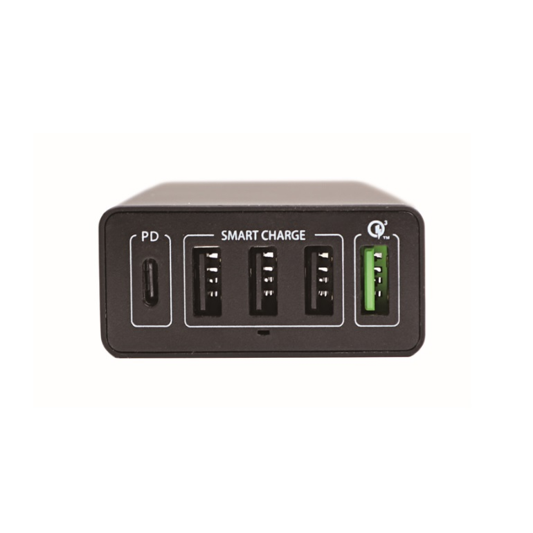 4smarts Mains Charging Station VoltPlug Power Delivery & QC3.0 60W - захранване с 4хUSB изхода и USB-C изход (черен)