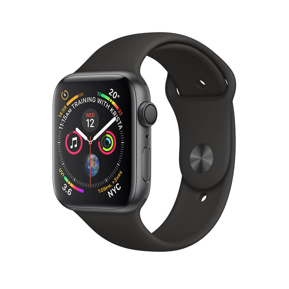 Apple Watch Series 4, 44mm Space Gray Aluminum Case with Gray Sport Band - умен часовник от Apple