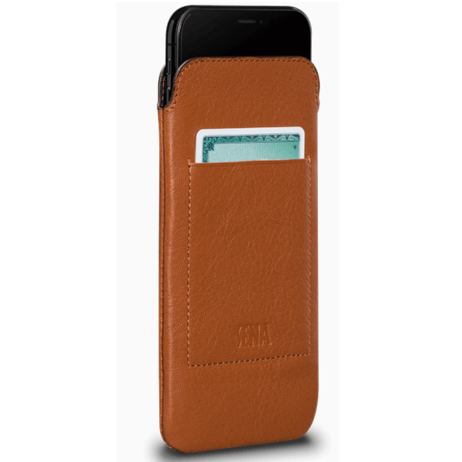 SENA Bence UltraSlim Wallet - handmade, genuine leather case with pocket for credit card for iPhone XS Max (tan)