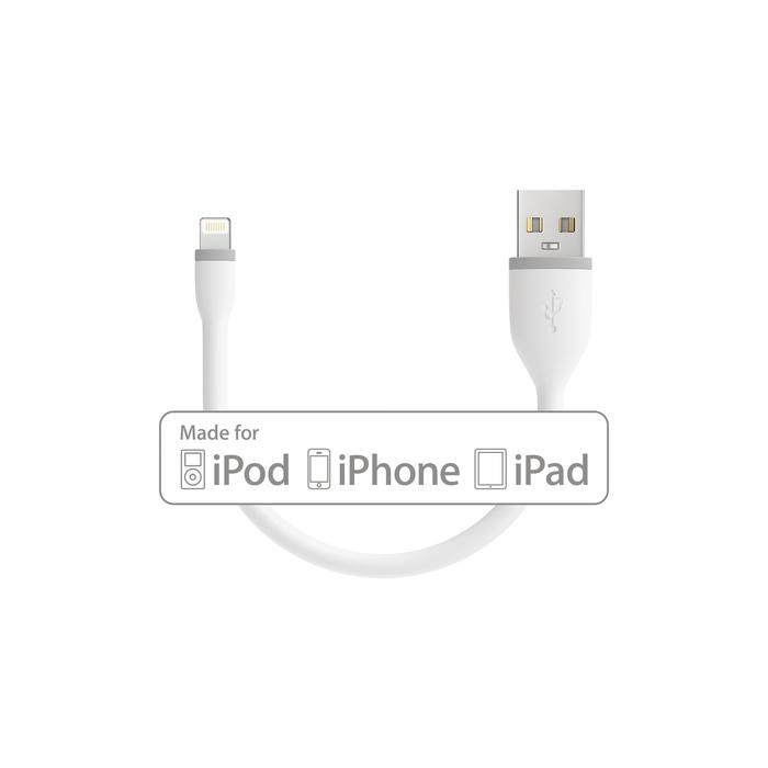 Satechi Flexible Lightning USB Cable - гъвкав USB кабел за iPhone, iPad и iPod с Lightning (бял) (15 см)