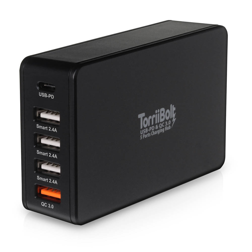Torrii TorriiBolt 5 Ports Quick Charge 3.0, 63W 5-Port USB Wall Charger (black)