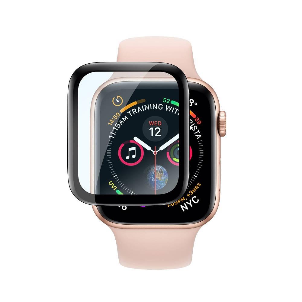 Torrii BodyGlass - калено стъклено защитно покритие с извити ръбове за дисплея на Apple Watch Series 4 (44mm) (черен-прозрачен)