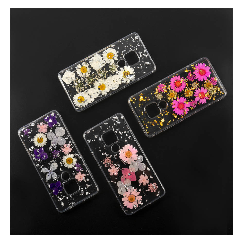 4smarts Soft Cover Glamour Bouquet - силиконов (TPU) калъф с цветя за Huawei Mate 20 (бял)