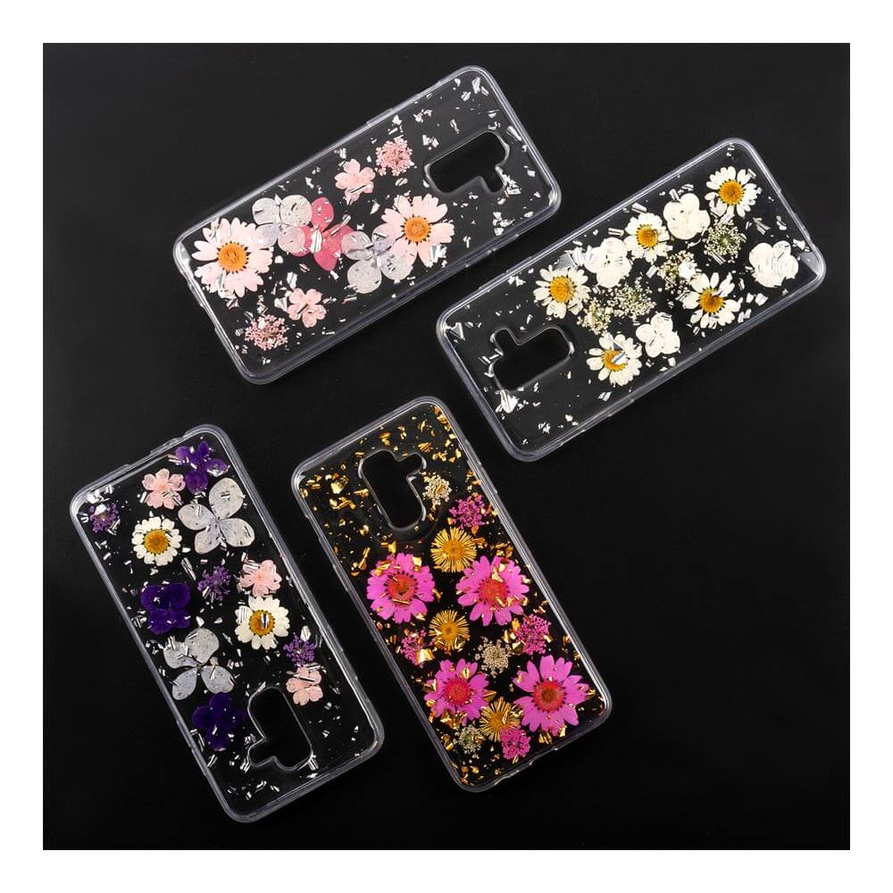 4smarts Soft Cover Glamour Bouquet - силиконов (TPU) калъф с цветя за Samsung Galaxy A6 Plus (2018) (бял)