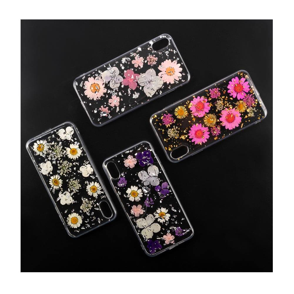 4smarts Soft Cover Glamour Bouquet - силиконов (TPU) калъф с цветя за iPhone XR (бял)