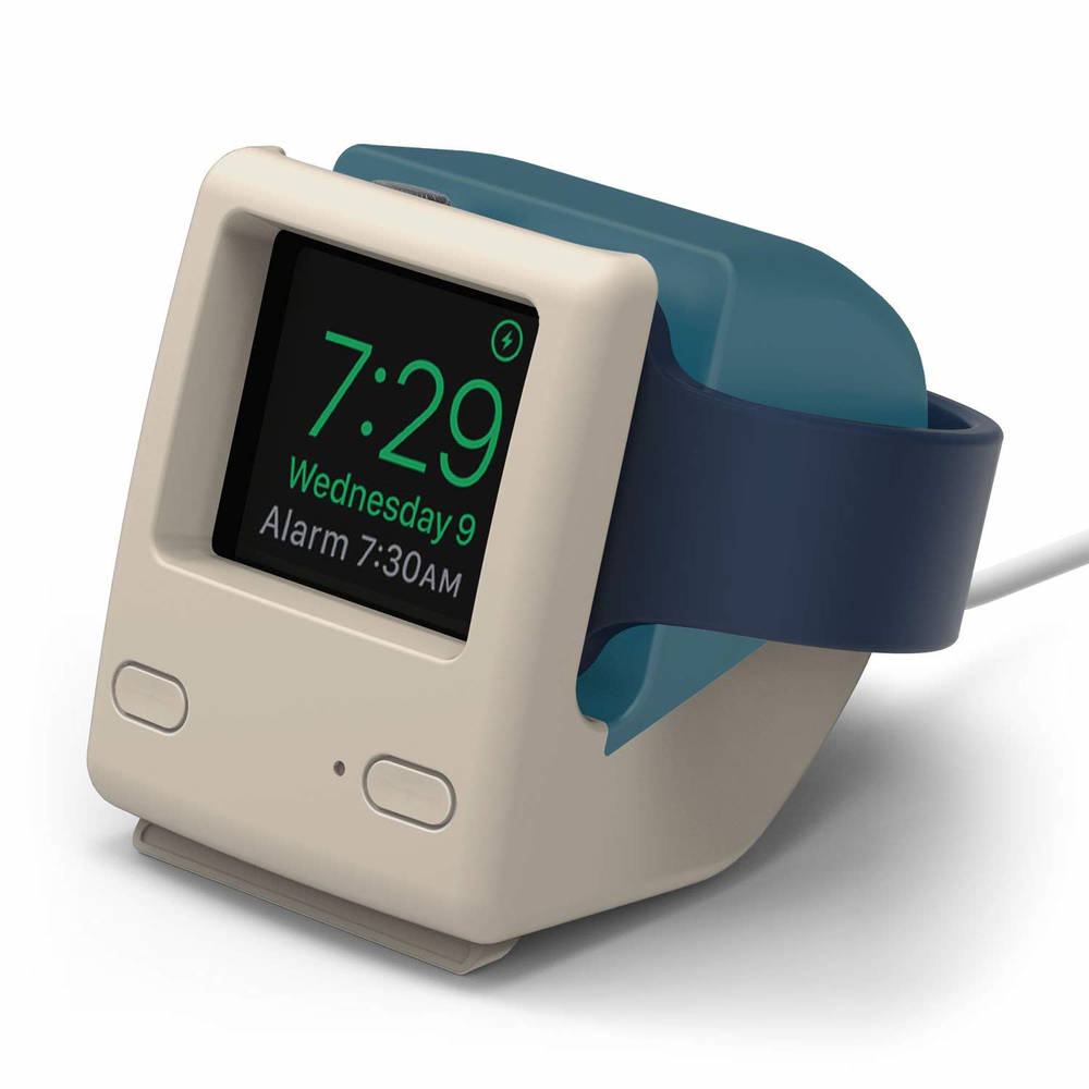 Elago W4 Watch Stand - силиконова винтидж поставка в стила на Apple iMac (1998) за Apple Watch (синя)