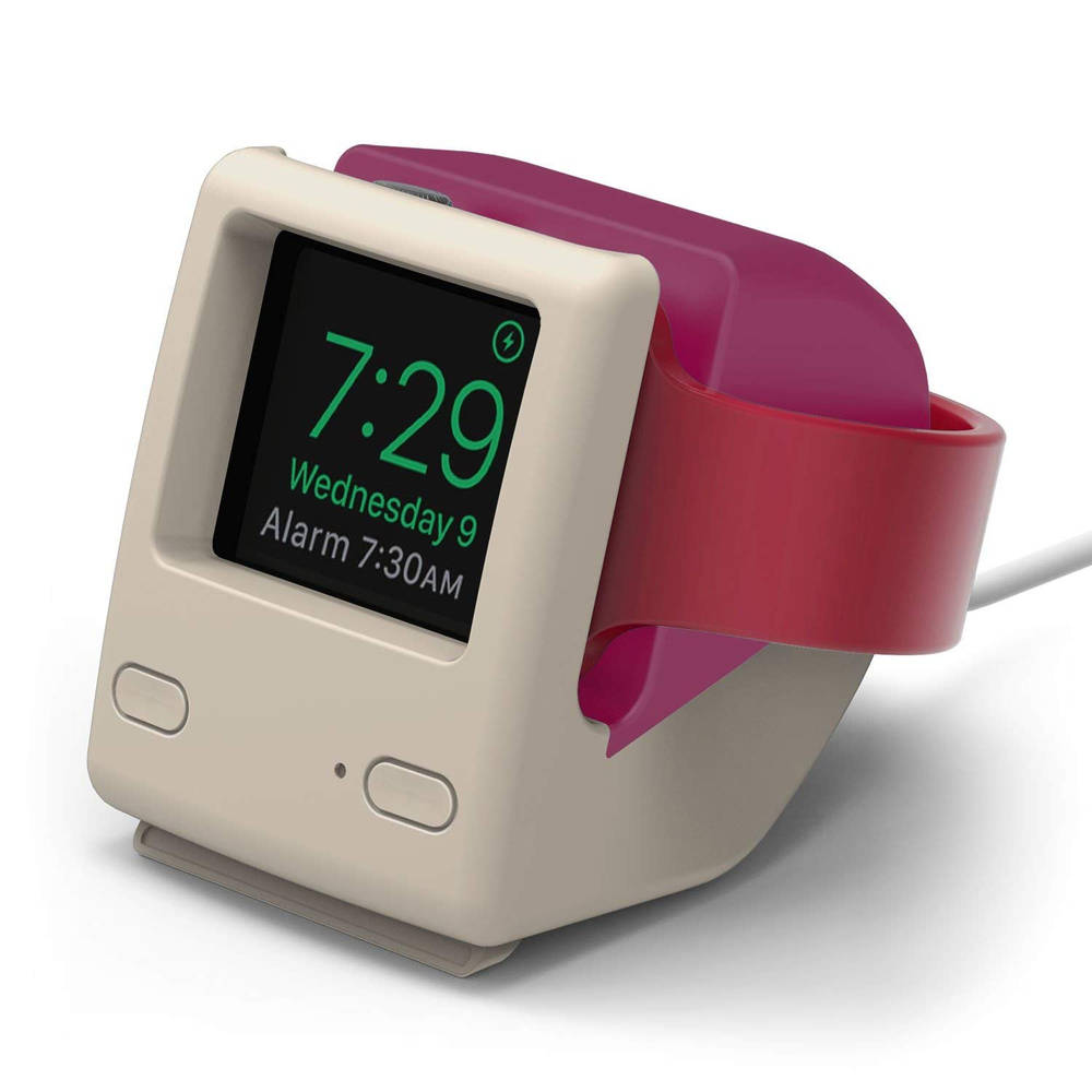 Elago W4 Watch Stand - силиконова винтидж поставка в стила на Apple iMac (1998) за Apple Watch (розова)