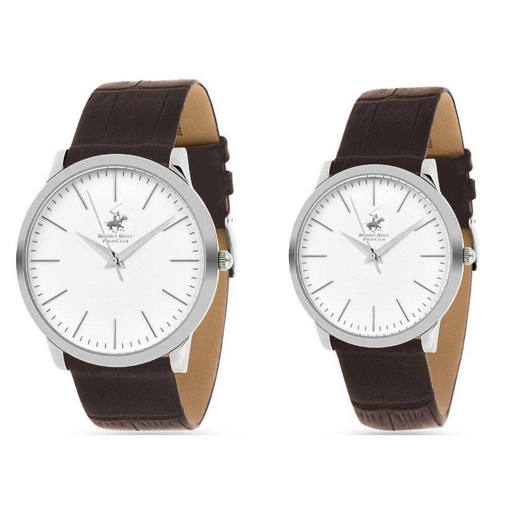 Beverly Hills Polo Club Watch Set BHX7412SET Ladies and Men Watch (Silver-Brown)
