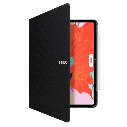 SwitchEasy CoverBuddy Folio Case - кожен кейс с поставка и отделение за Apple Pencil 2 за iPad Pro 12.9 (2018) (черен)