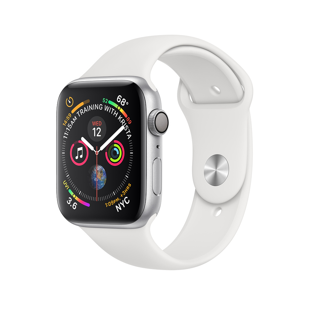 Apple Watch Series 4, 44mm Silver Aluminum Case with White Sport Band - умен часовник от Apple