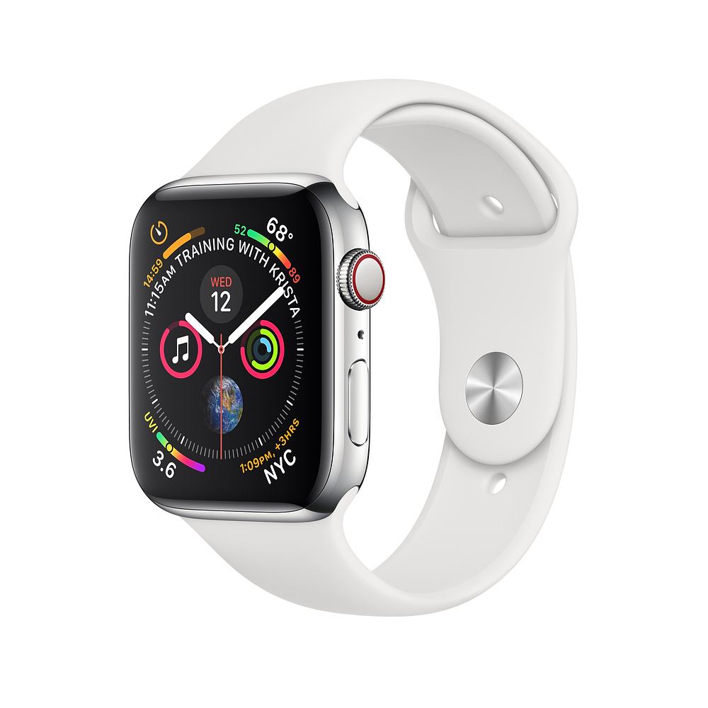 Apple Watch Series 4, 40mm Stainless Steel Case with White Sport Band, GPS + Cellular - умен часовник от Apple