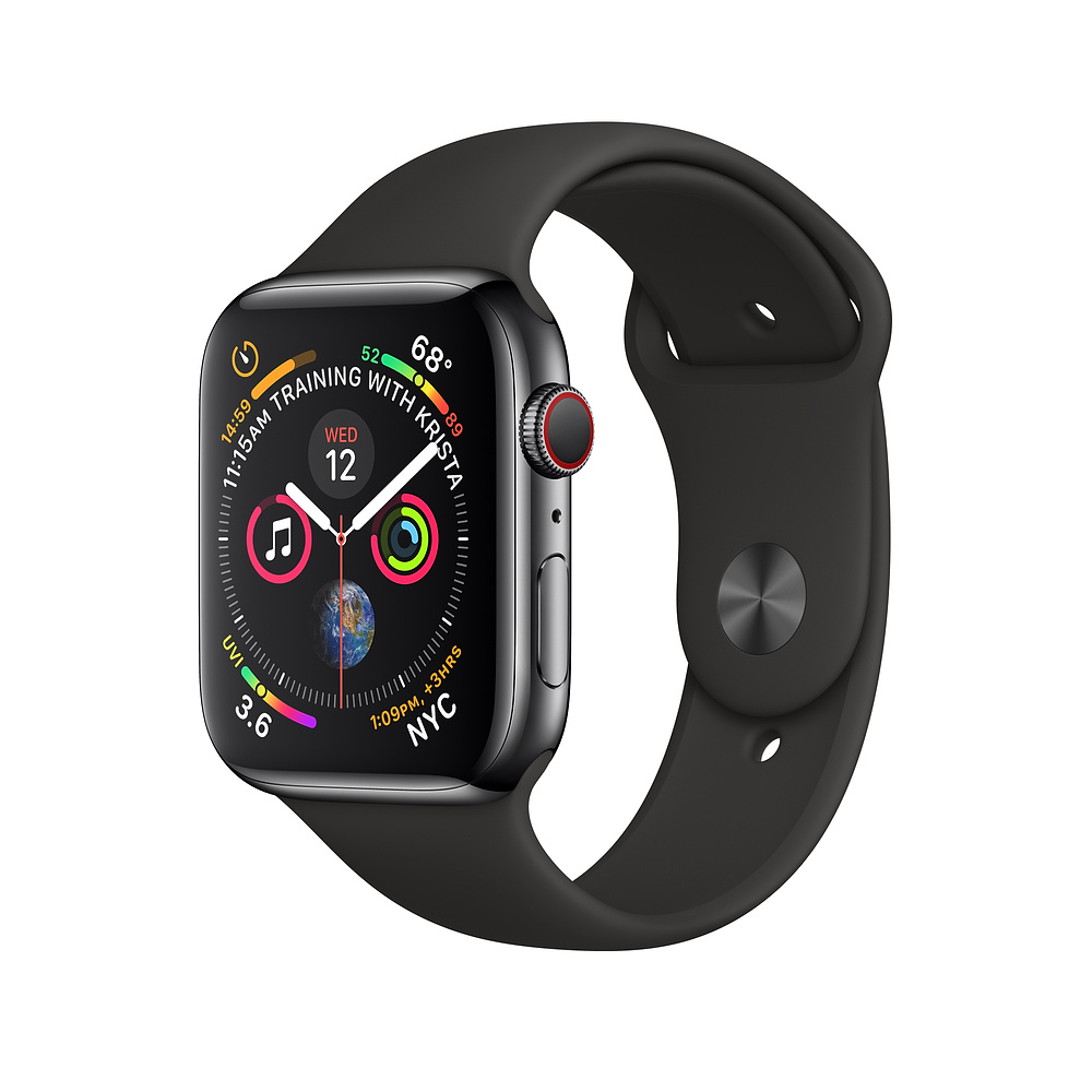 Apple Watch Series 4, 40mm Space Black Stainless Steel Case with Black Sport Band, GPS + Cellular