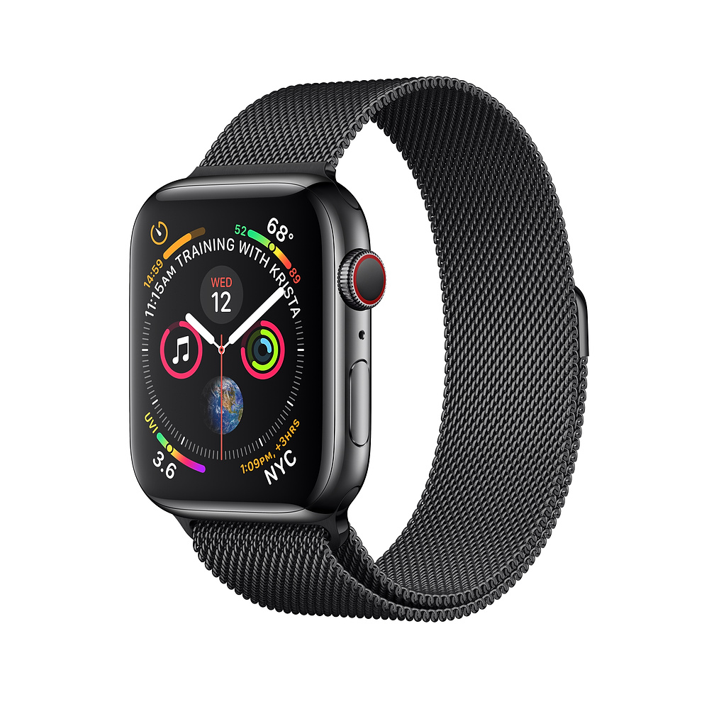 Apple Watch Series 4, 44mm Space Black Stainless Steel Case with Milanese Loop, GPS + Cellular - умен часовник от Apple