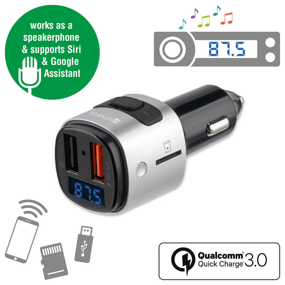4smarts Media Assist Car Charger with FM Transmitter and Media-In - зарядно за кола (Quick Charge) с трансмитер, MicroSD карта и дисплей (черен)