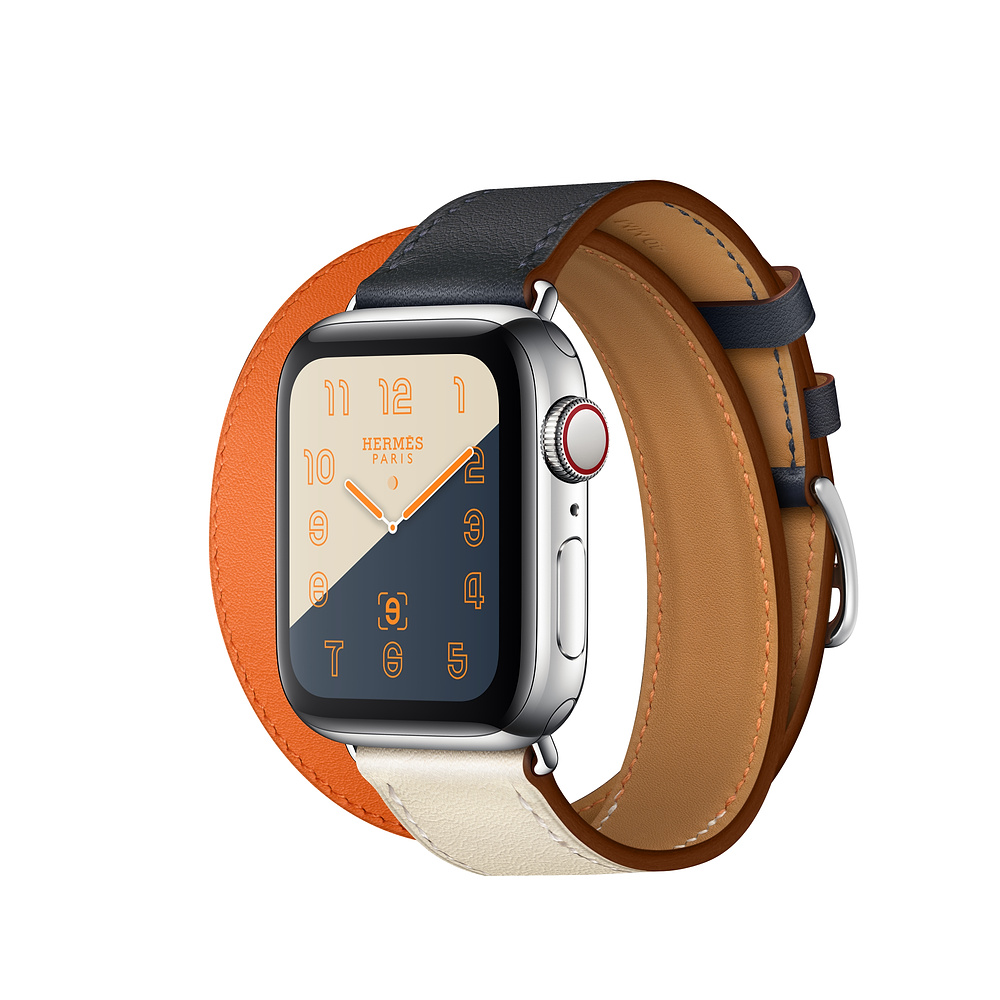 Apple Watch Hermès Series 4, 40mm Stainless Steel Case with Indigo/Orange Swift Leather Double Tour, GPS + Cellular