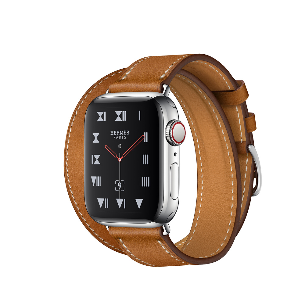 Apple Watch Hermès Series 4, 40mm Stainless Steel Case with Fauve Barenia Leather Double Tour, GPS + Cellular - умен часовник от Apple