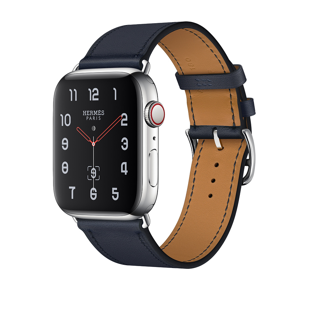 Apple Watch Hermès Series 4, 44mm Stainless Steel Case with Indigo Swift Leather Single Tour, GPS + Cellular - умен часовник от Apple