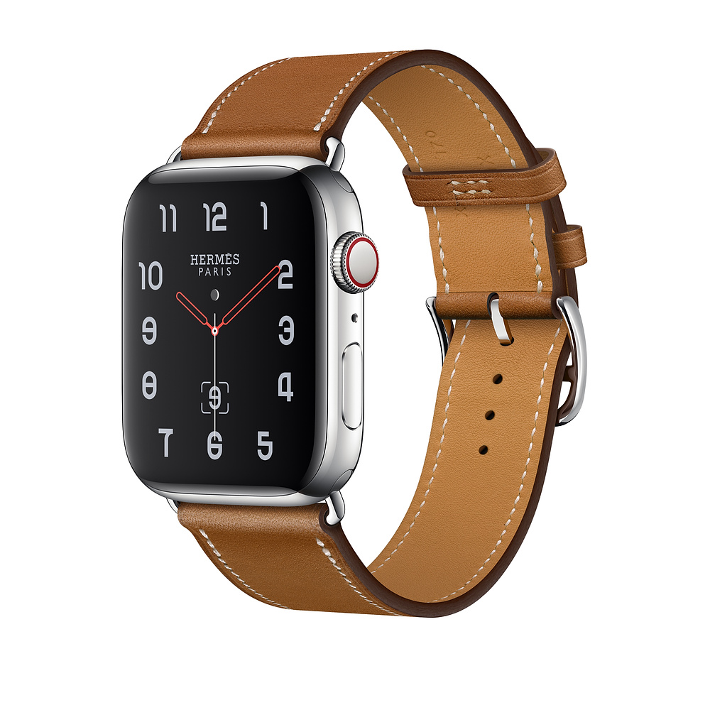 Apple Watch Hermès Series 4, 40mm Stainless Steel Case with Fauve Barenia Leather Single Tour, GPS + Cellular - умен часовник от Apple