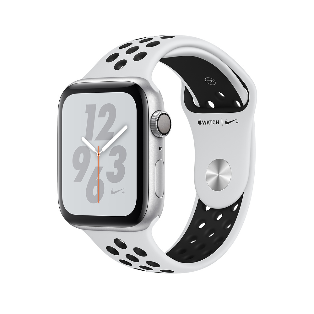 Apple Watch Nike+ Series 4, 44mm Silver Aluminum Case with Pure Platinum/Black Nike Sport Band, GPS - умен часовник от Apple