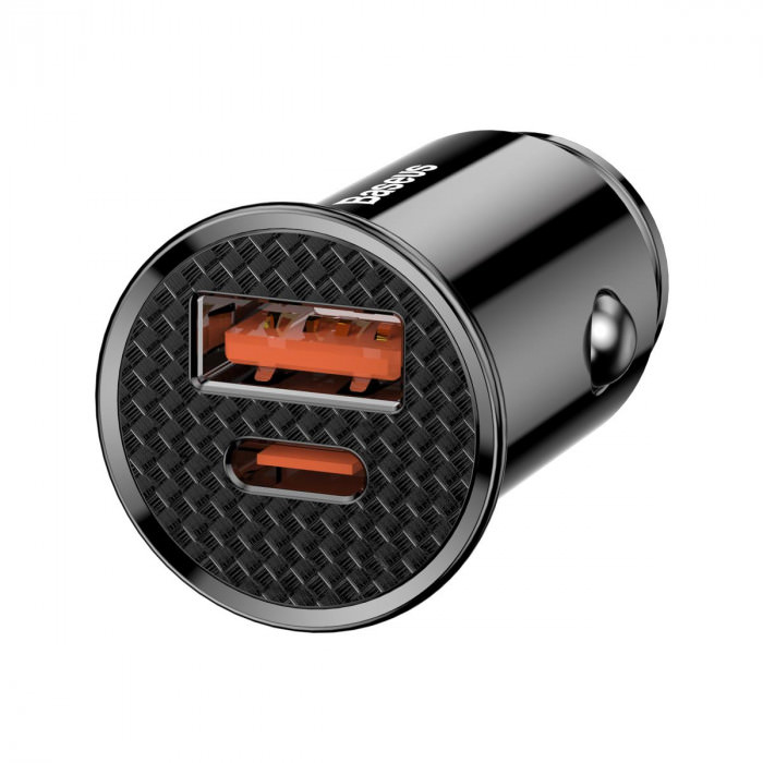 Baseus Dual USB & USB-C QC 3.0 Car Charger 30W (black)