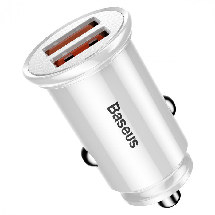 Baseus Dual USB QC 3.0 Car Charger 30W (white)