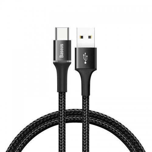 Baseus Halo USB-C Cable - кабел с въжена оплетка за устройства с USB-C порт (200 см) (черен)
