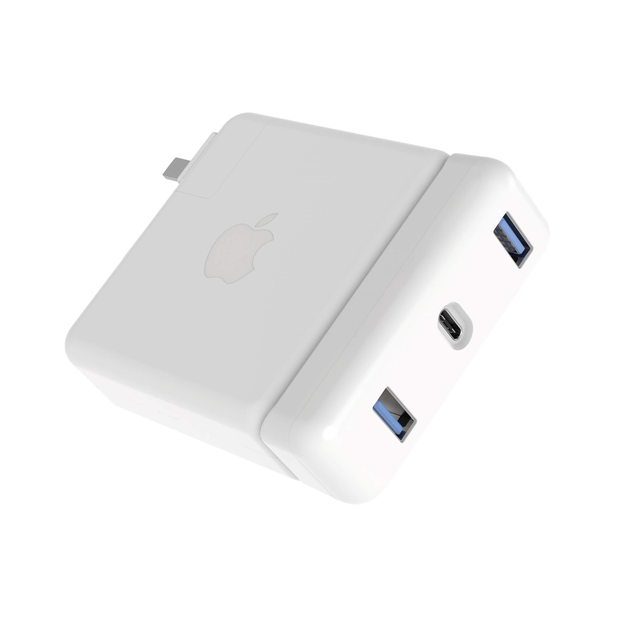 HyperDrive USB-C Hub 87W Power Adapter - USB-C хъб с два USB изхода и USB-C изход за Apple 87W USB-C Power Adapter (бял)