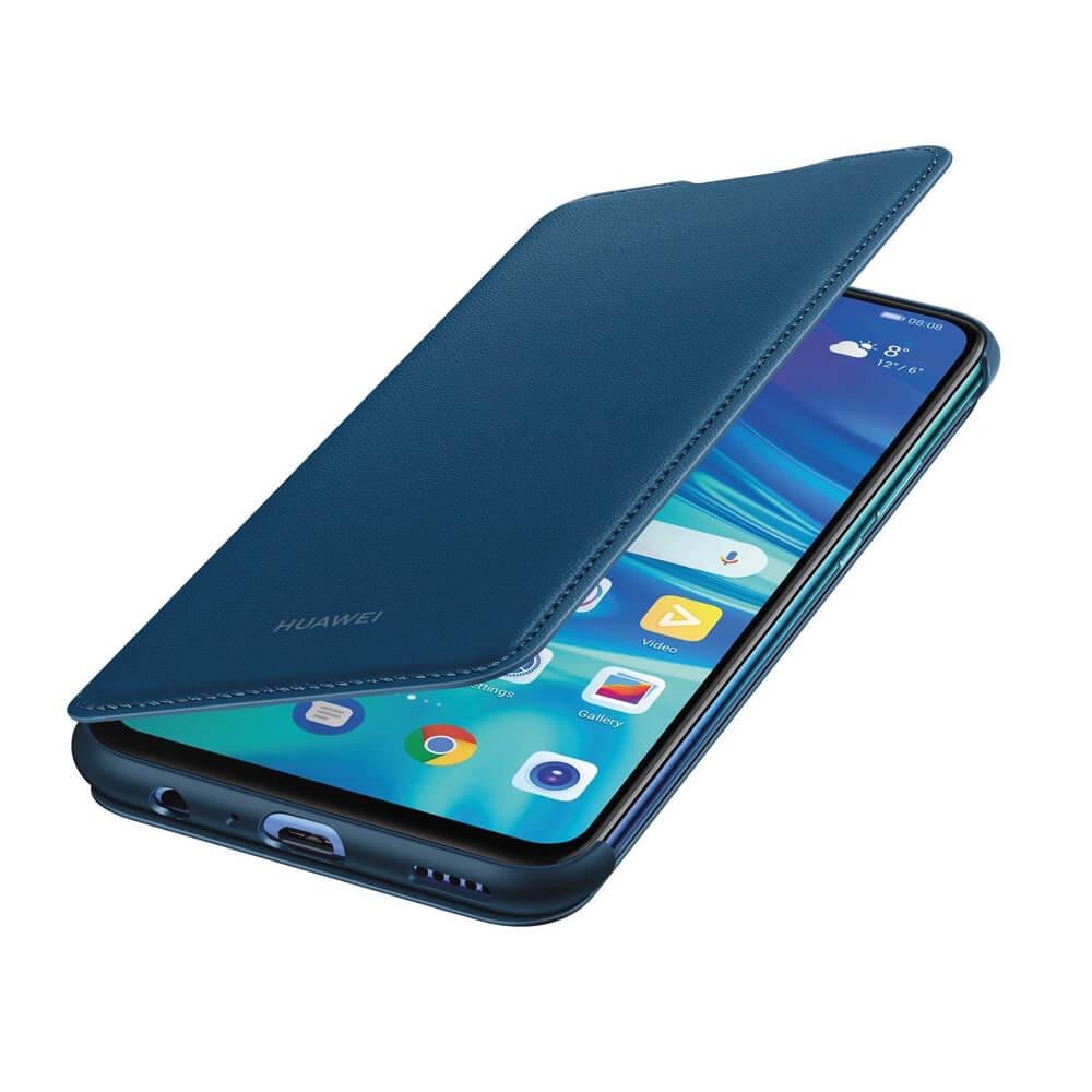 Huawei Flip Cover Case - оригинален кожен калъф за Huawei P Smart (2019) (син)