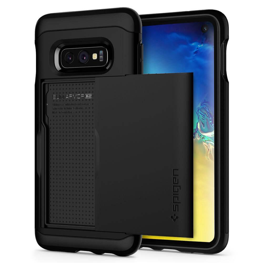 Spigen Slim Armor CS Case - хибриден кейс с отделение за кр. карти и най-висока степен на защита за Samsung Galaxy S10E (черен)
