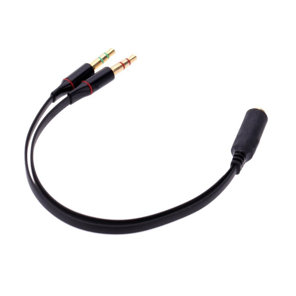 4 Pin 3.5mm Female To 2 x 3 Pin 3.5mm Male Headset Splitter Adapter