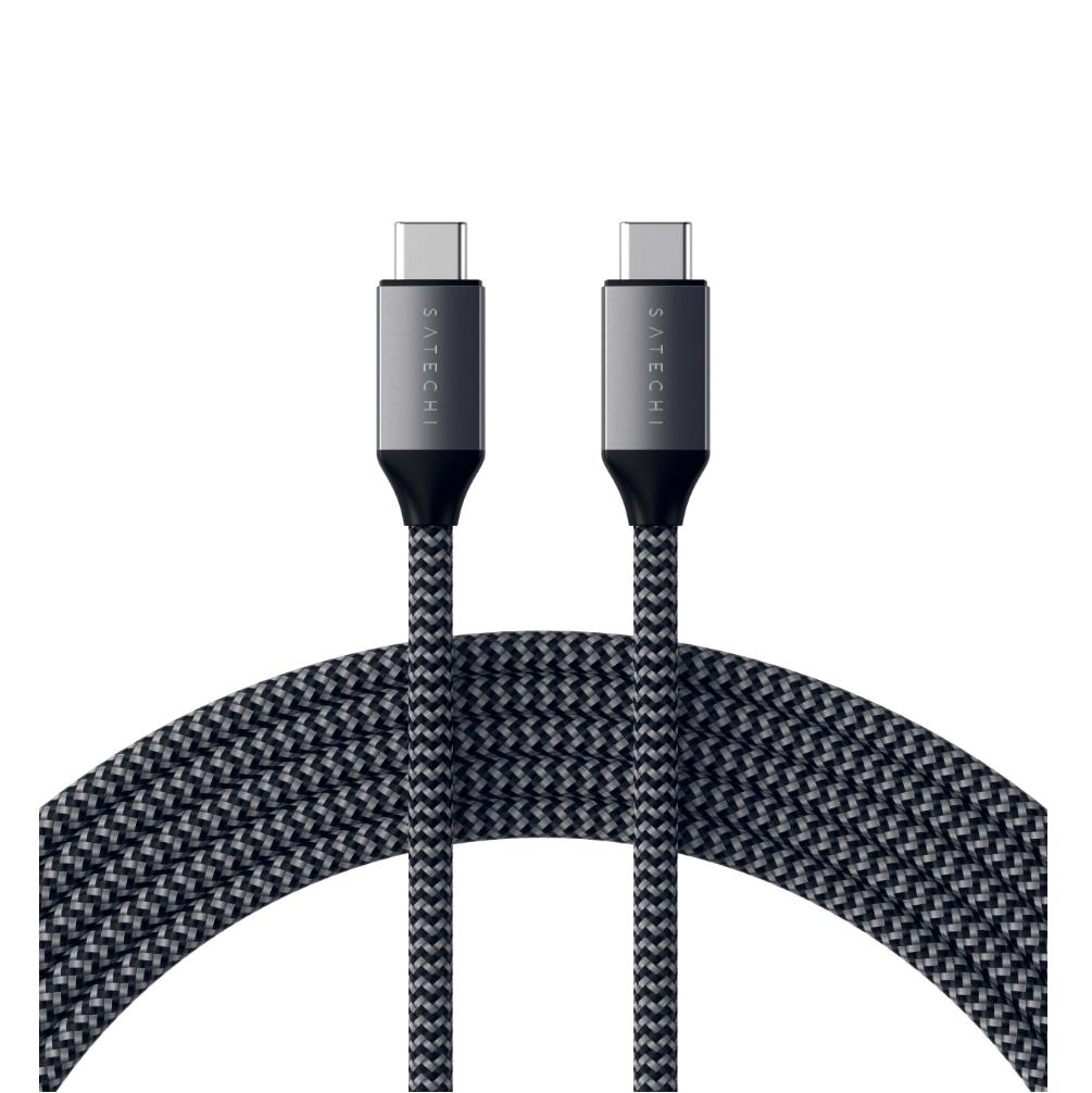 Satechi USB-C to USB-C Charging Cable 100W - USB-C към USB-C кабел за MacBook и устройства с USB-C порт (200 cm) (сив)