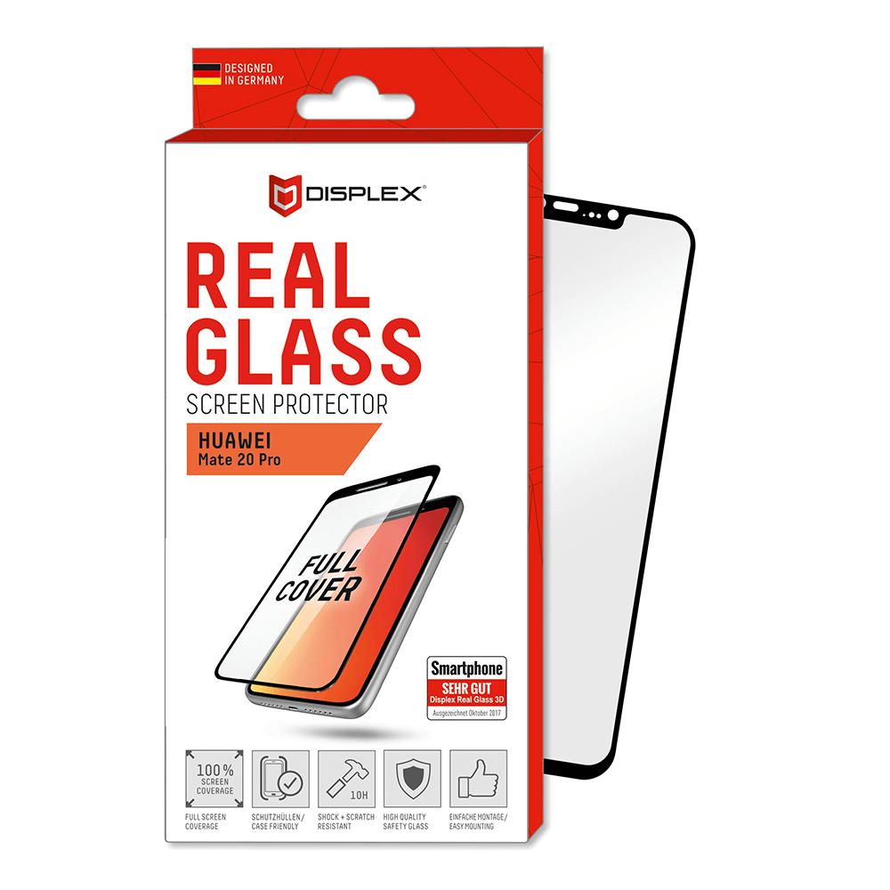 Displex Real Glass 10H Protector 3D Full Cover - калено стъклено защитно покритие за дисплея на Huawei Mate 20 Pro (черен-прозрачен)